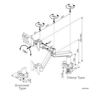 Пневматична поставка за LCD монитор характеристики